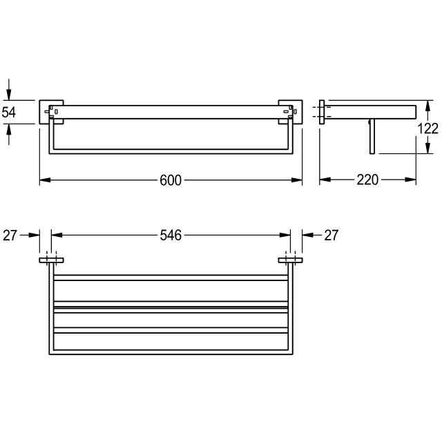 CUBUS Double towel rack for wall mounting
