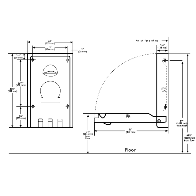 FRKKB101-01 Baby Changing unit, vertical