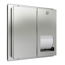 Partition - Mounted WC roll holder with spindle system