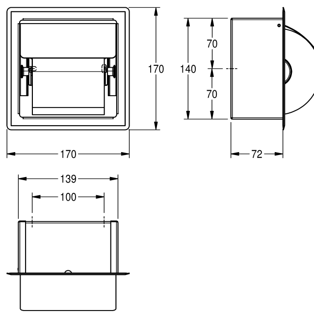 Single toilet roll holder for recessed mounting