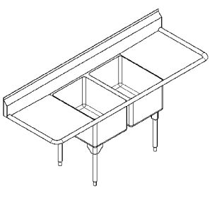 RDL2436LR-1 Double, left & right drainboard, 16 gauge