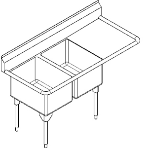 RDL2436R-1 Double, right drainboard, 16 gauge