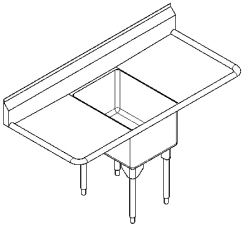 RSL2424LR-1 Single, left & right drainboard, 16 gauge