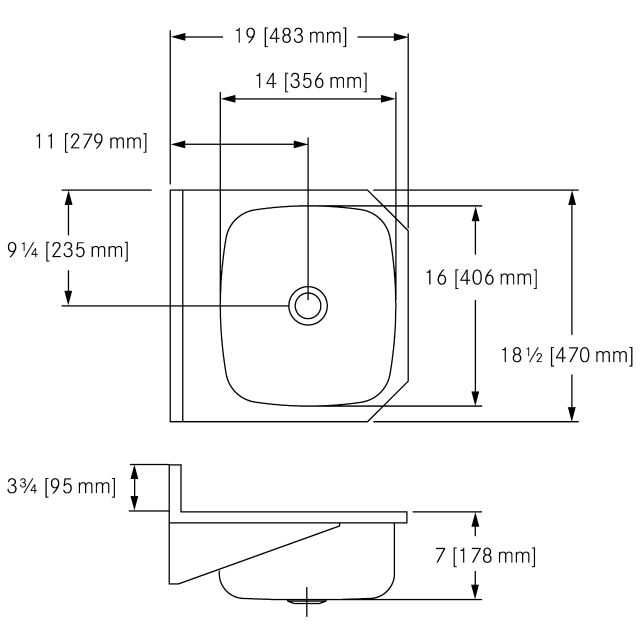 WHB1819-6 Wall Hung, 18 gauge, overflow