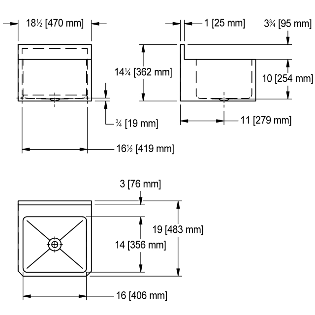 WHBS181910-3 Wall Hung, with shroud, 18 gauge