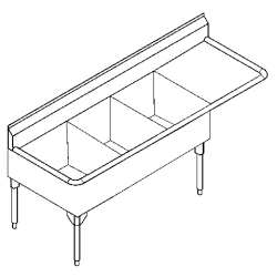 STL2454R-1 Triple, right drainboard, 14 gauge