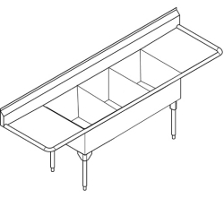 STL2454LR-1 Triple, left & right drainboard, 14 gauge