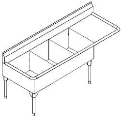 STL2472R-1 Triple, right drainboard, 14 gauge