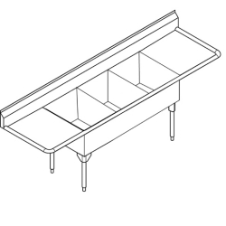 STL2472LR-1 Triple, left & right drainboard, 14 gauge