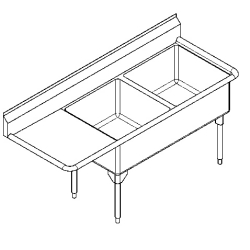 WDL2436L-1 Double, left drainboard, 14 gauge