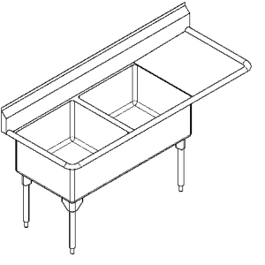 WDL2436R-1 Double, right drainboard, 14 gauge