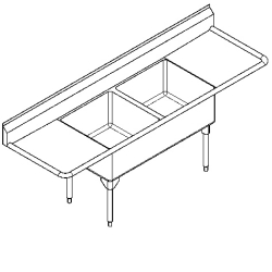 WDL2436LR-1 Double, left & right drainboard, 14 gauge