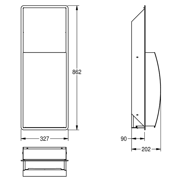 STRATOS Waste bin for recessed mounting