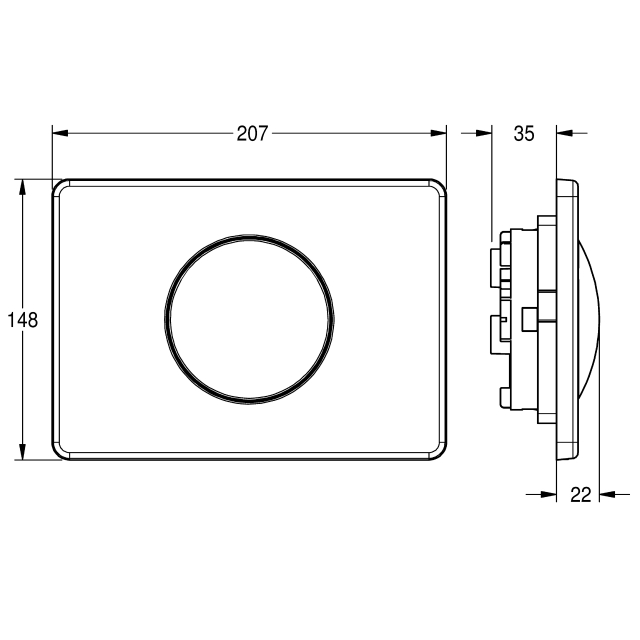 Flushing plate with 1 button for wall-installation cistern