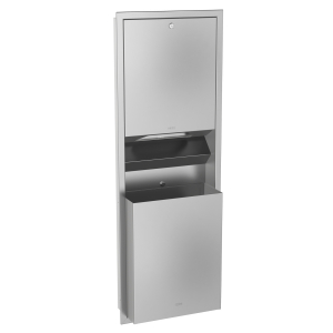 RODAN paper towel/waste bin combination for recessed mounting