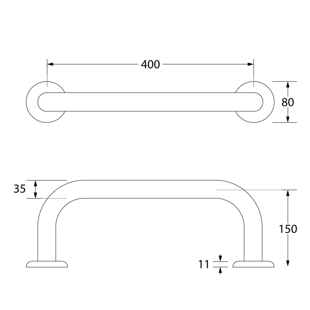 CONTINA Stainless steel back rest rail