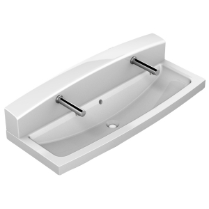 Washtrough with 2 electronic touch free taps