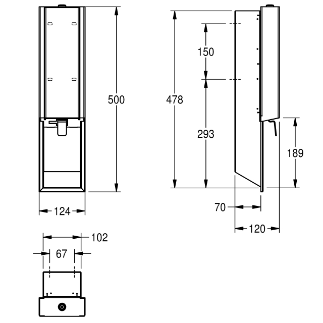 EXOS. soap dispenser for recessed mounting