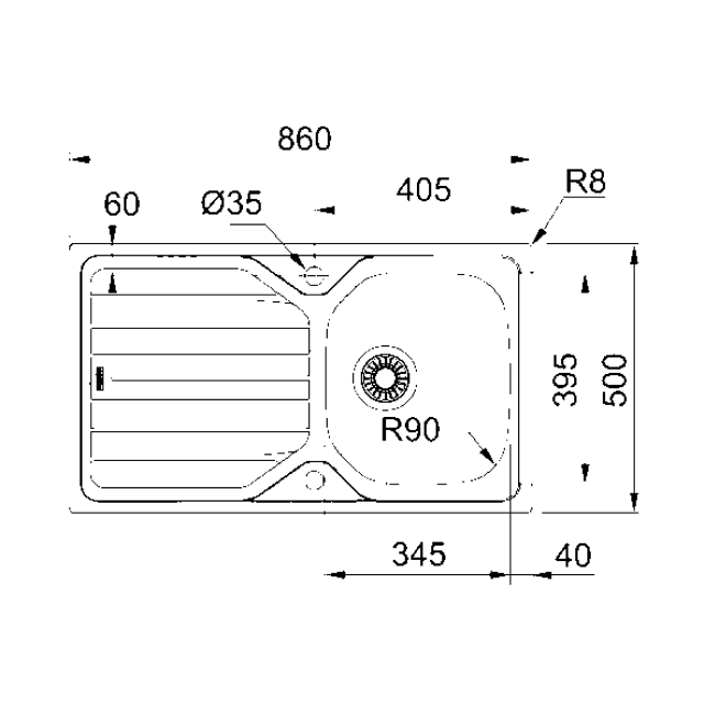 F0309NP Reversible Inset Sink