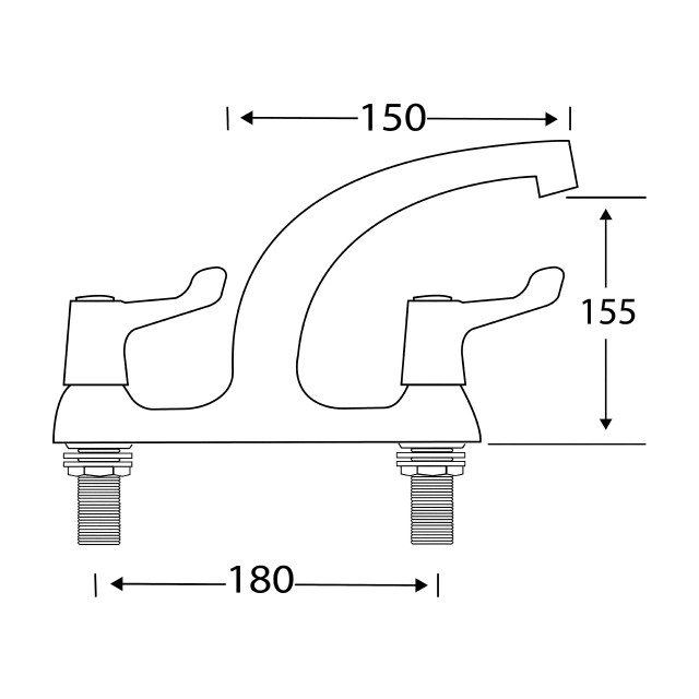 F1331N Deck mounted mixer with levers