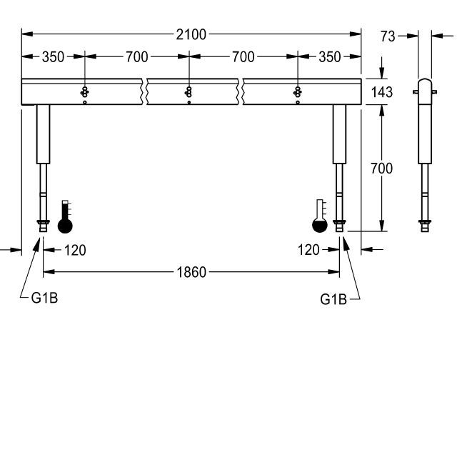 Fitting unit, double row