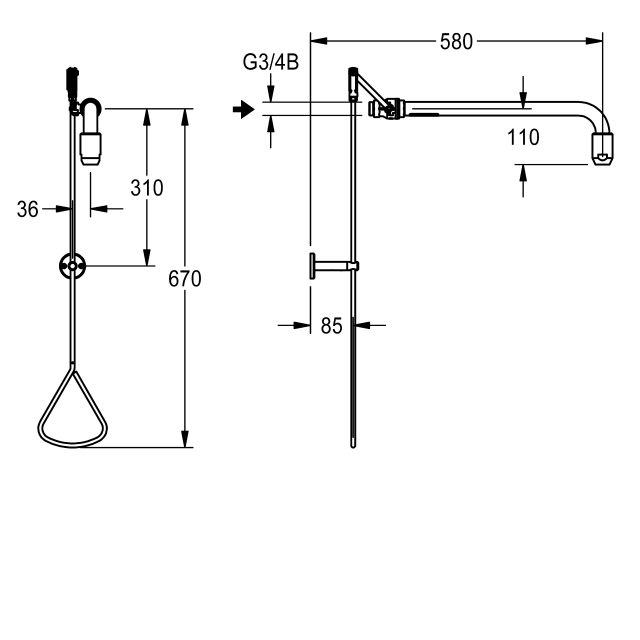 Emergency shower activated by a pull-rod on connection piece