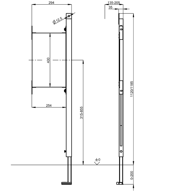 AQUAFIX subframe for attaching grab rails / handles to for right-hand