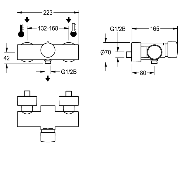 F5S-Mix self-closing wall-mounted mixer with hand shower connection