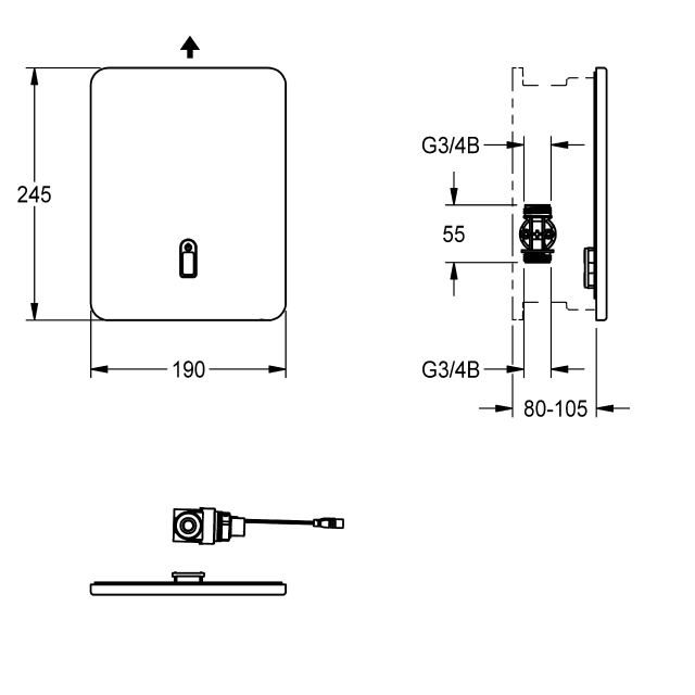 F3E electronic in-wall valve with battery operation