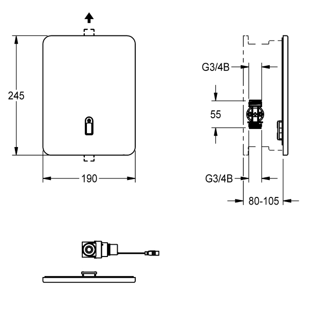F3E electronic in-wall valve for separate power supply