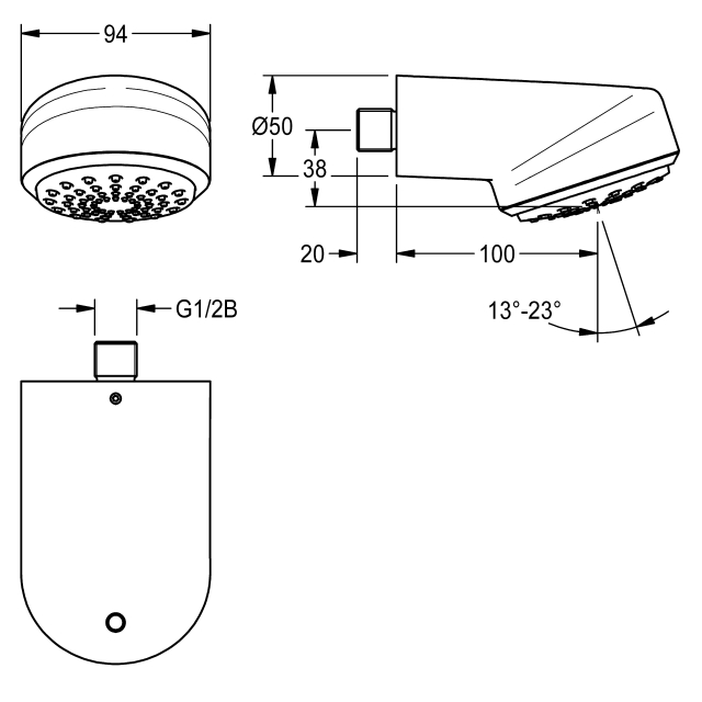 AQUAJET-Comfort shower head for wall connection