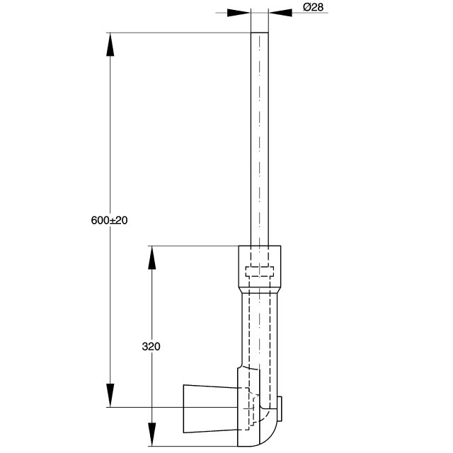Flushing pipe for in-wall installation