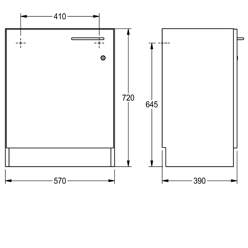 Cabinet for installation under the tabletop