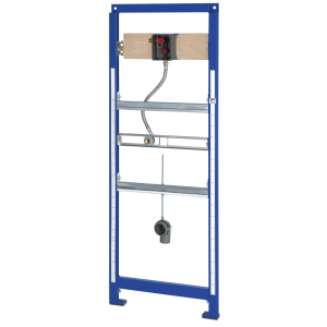 AQUAFIX installation frame for stainless steel urinals, with pre-mounted basic installation kit for in-wall urinal flush