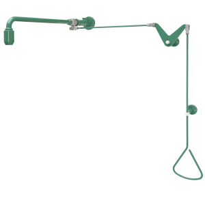 Emergency shower activated by a pull-rod with water supply from ceiling or from left or right