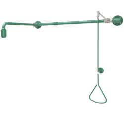 Emergency shower activated by a pull-rod with water supply from left or right
