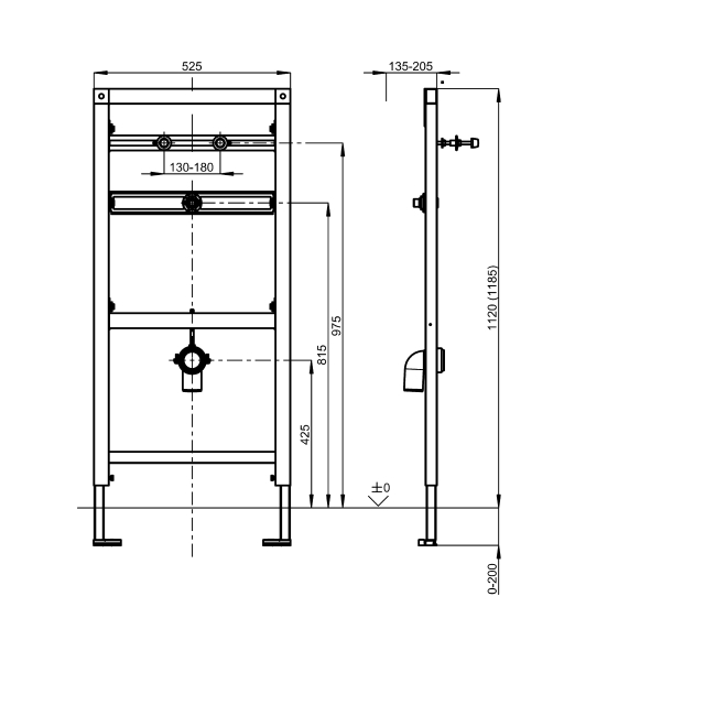 AQUAFIX urinal installation frame for stainless steel urinals with siphon control