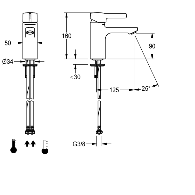 F5L-Mix single-lever pillar mixer