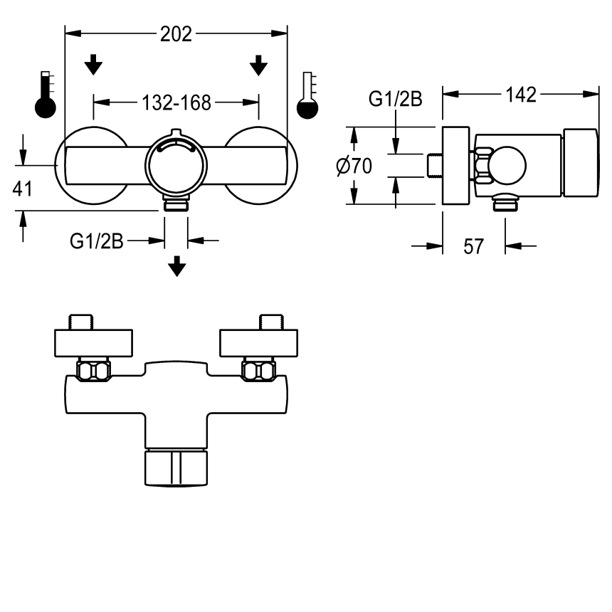 F3S-Mix self-closing wall-mounted mixer with hand shower connection