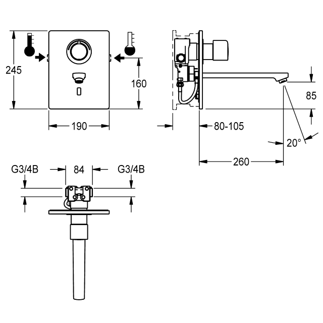 F5E-Therm electronic thermostatic in-wall mixer for separate power supply