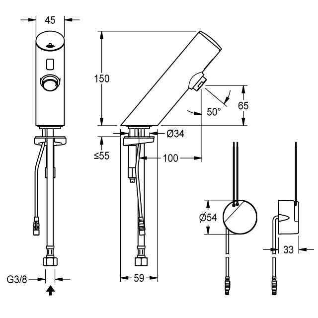 F3E electronic pillar tap with in-wall power supply