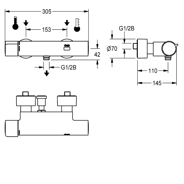 F5E-Therm electronic thermostatic wall-mounted mixer for separate power supply, with hand-shower connection