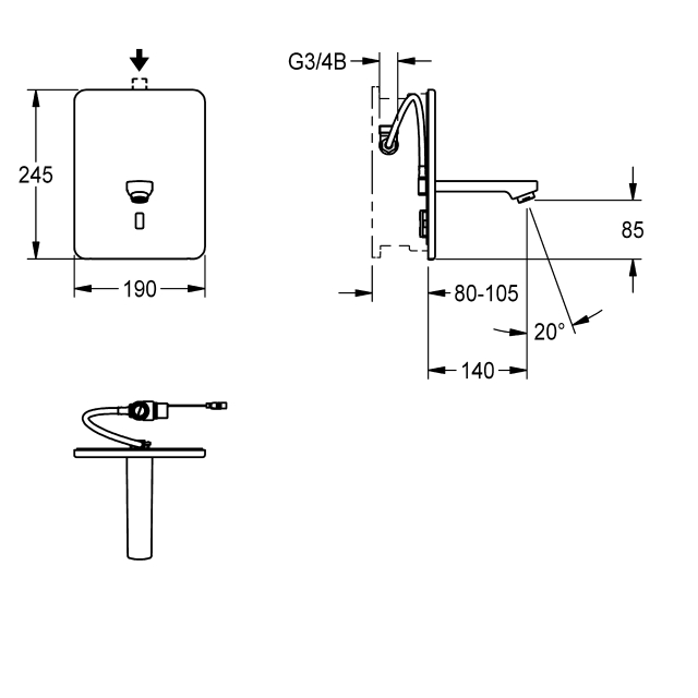 F3E Electronic in-wall tap for separate power supply