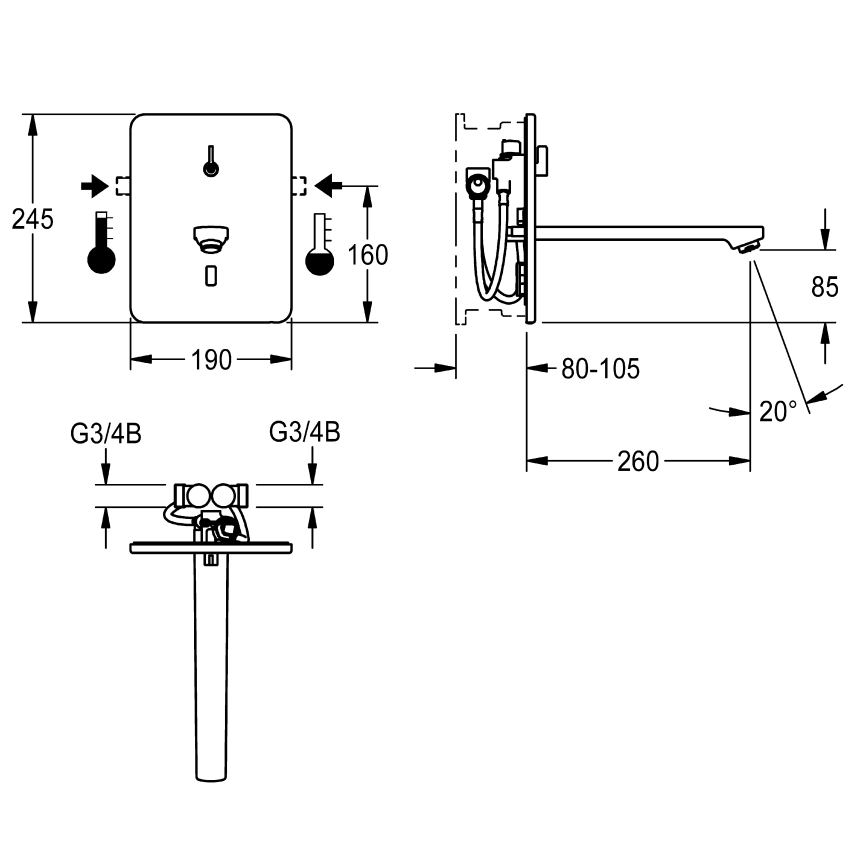 F3E-Mix Electronic in-wall mixer with battery operation