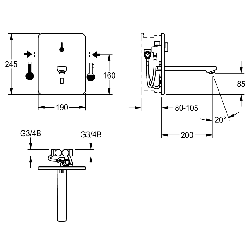 F3E-Mix Electronic in-wall mixer for separate power supply