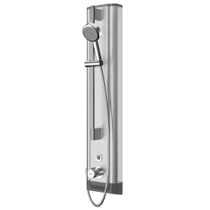 F5E Therm stainless steel shower panel with hand shower fitting