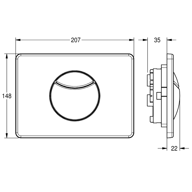 Flushing plate with 2 buttons for wall-installation cistern