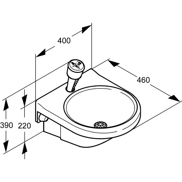 Eye- and face-wash fountain with water collection basin