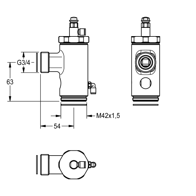 WC flush valve DN 20