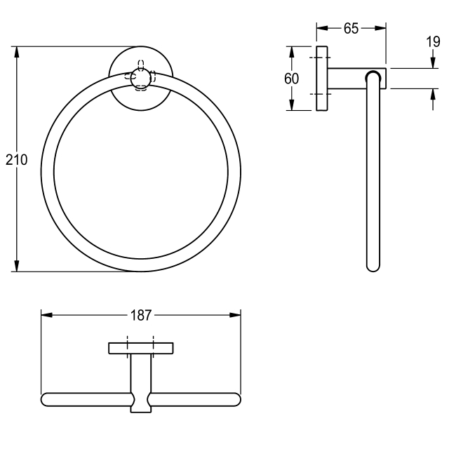 FIRMUS Towel ring for wall mounting
